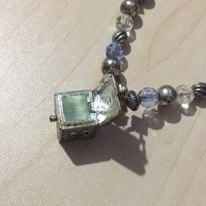 silver box pendant with chain beads box opens